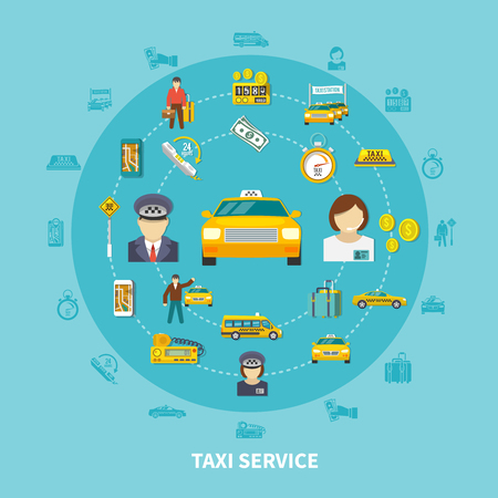 Taxi round composition with silhouette icons and images of taxi provider cabs money baggage and people vector illustration