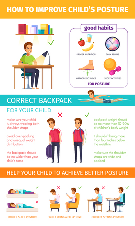 Children posture cartoon infographics with editable text and flat human characters of sleeping kids with captions vector illustration