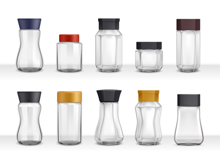 Instant coffee 10 empty realistic various shape glass and plastic jars packaging collection 3d isolated vector illustration Vectores