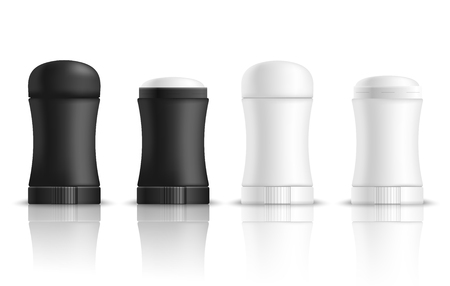 Deodorant realistic mock-up set with isolated images of plastic packages