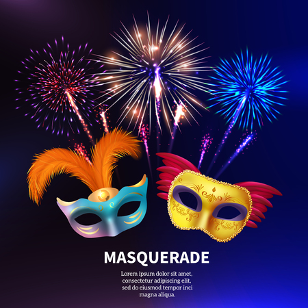 Fireworks background composition with editable text and realistic images of two colorful carnival masks with feathers vector illustration