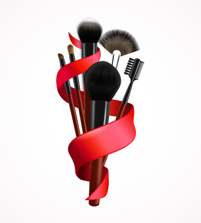 Realistic make up brushes with twisted red ribbon, 3d composition on white background vector illustration