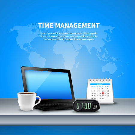 Blue time management realistic composition the workplace is equipped with digital clock and planning vector illustration
