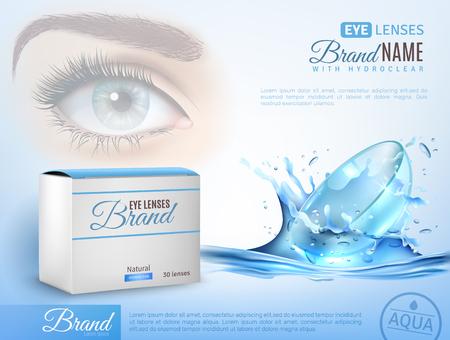 affiche de l & # 39 ; annonce réaliste avec l & # 39 ; identité de marque pour les lentilles illustration