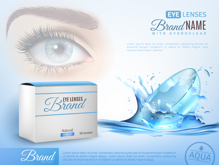 Realistic ad poster with brand identity for contact lenses vector illustration Stock fotó - 97228352