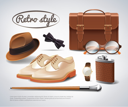 Classic retro gentleman accessories realistic set with shoes briefcase glasses watch bow tie walking stick vector illustration