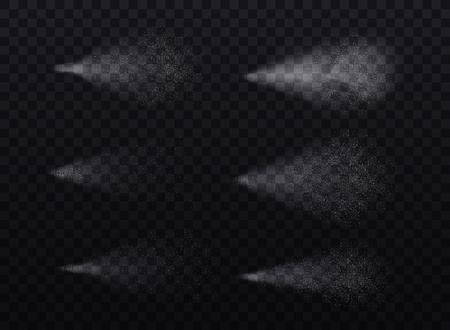 Spruzzi l'insieme realistico delle immagini granulari dettagliate isolate delle tracce bianche della foschia sull'illustrazione trasparente scura di vettore del fondo Archivio Fotografico - 97150013