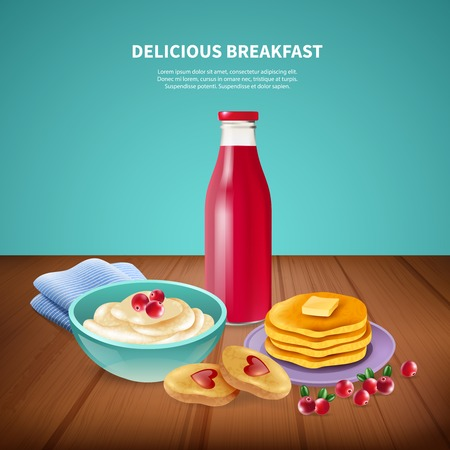 Delicious sweet pancakes with butter porridge and jam served for breakfast realistic background vector illustration
