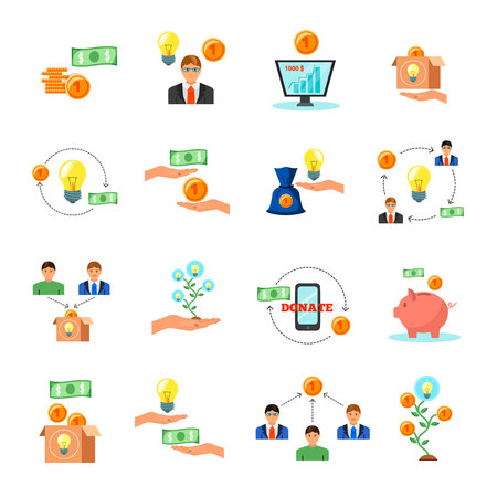Online crowdfunding, alternative finance crowd sourcing money raising for projects via internet flat icons. Symbols collection vector illustration.