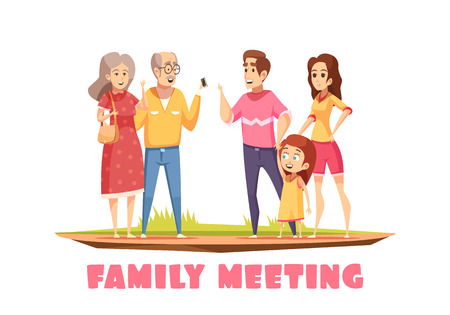 Happy family meeting design composition with grandparents young couple and little girl cartoon vector illustration Illustration