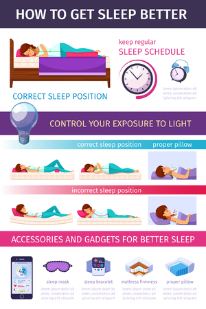 Correct sleeping cartoon infographics with flat images of proper sleep positions editable text and smartphone pictograms vector illustration Stock Vector - 97150015