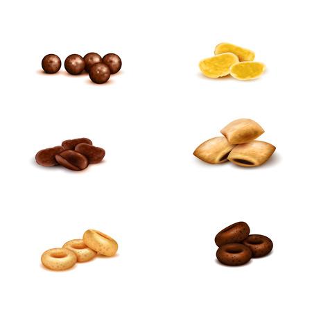 Knapperige ontbijtgraangewassen van diverse vorm en kleuren realistische reeks op witte achtergrond geïsoleerde vectorillustratie