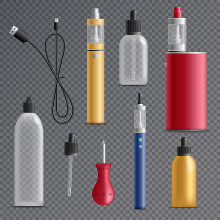 Vaping realistic set on transparent background with isolated images of refill bottles vaporizers and charging wire vector illustration