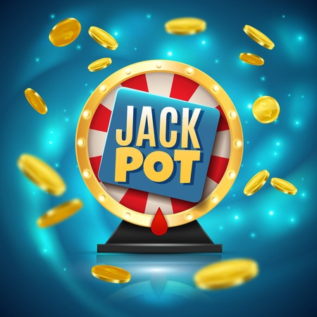 Jackpot on fortune wheel realistic blue sparkling design with golden glossy coins 3d vector illustration 向量圖像