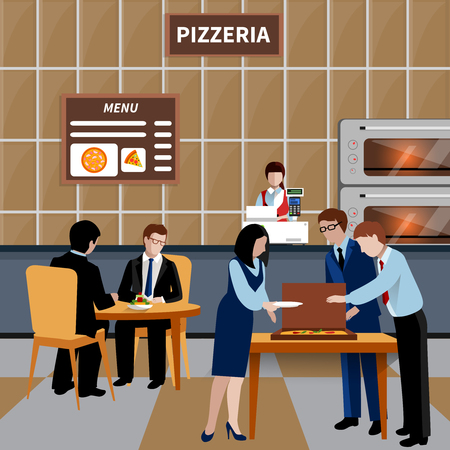 Flat business lunch people composition with workers and colleagues have lunch in a pizzeria vector illustration Ilustração