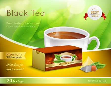 Black tea advertising realistic composition on green blurred background with cardboard box, cup of drink, vector illustration 向量圖像