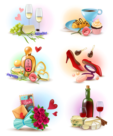 Set of compositions with food and drink vector illustration