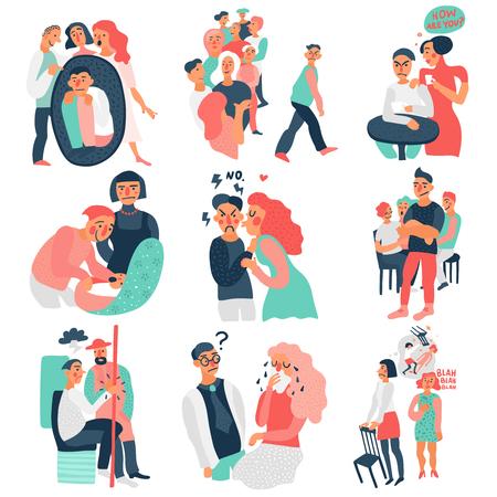Sociopathy icons set with communication symbols flat isolated vector illustration