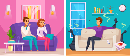Smelly apartment cartoon composition with man in untidy room with trash, upset neighbors vector illustration