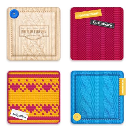 Realistic knitted patterns concept vector illustration set Illustration