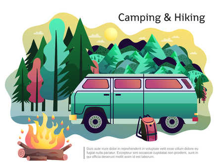 Camping hiking holiday adventure poster with open fire recreational vehicle and forest in background abstract vector illustration