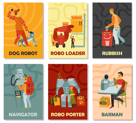 Robots with duties vector illustration set