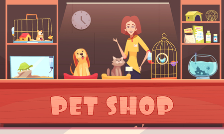 Pet shop interior with woman seller, home animals, shelves with accessories, feeds and medicines vector illustration