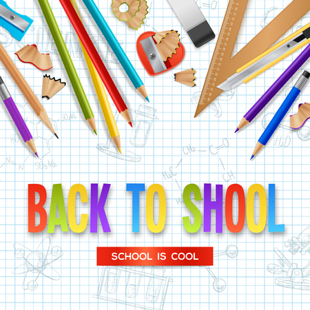 Back to school design concept with wooden sharpened pencils and stationery scattered on checkered sheet of notebook realistic vector illustration