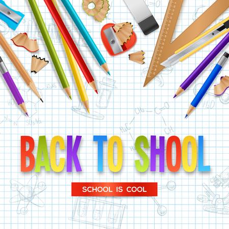 volver al concepto de diseño de la escuela con lápices afilados de madera y caballete en la hoja de papel arrugado de la ilustración del vector realista de la pluma