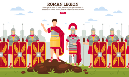 Ancient rome legionary flat webpage banner with army infantrymen in full armor with shields vector illustration