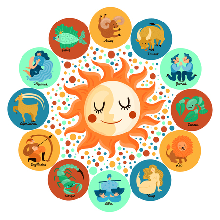 Astrological circle with zodiacal signs around moon and sun on colorful stained background vector illustration