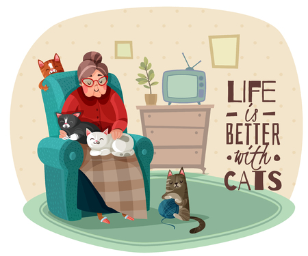 Old lady in armchair with cats during leisure in home interior, phrase about life vector illustration