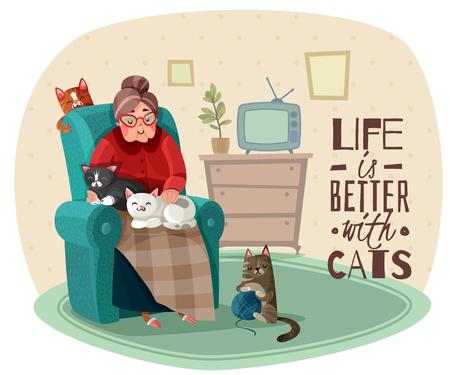 Vieille dame en fauteuil avec des chats pendant les loisirs à l'intérieur de la maison, phrase sur la vie illustration vectorielle Vecteurs