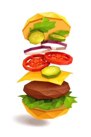 Hamburger with flying ingredients including bun, beef patty, cheese, vegetables on white background vector illustration
