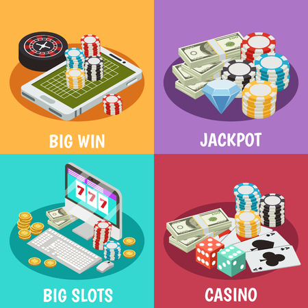 Illustration of casino design concepts with money and casino chips