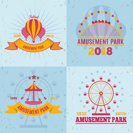 Amusement park emblems design concept vector illustration