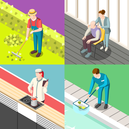 Domestic servant isometric design concept with gardener, personal chef, pool cleaner, nurse isolated vector illustration