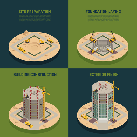 Skyscraper construction process 4 isometric icons  concept from site preparation to building facade finish isolated vector illustration Illustration
