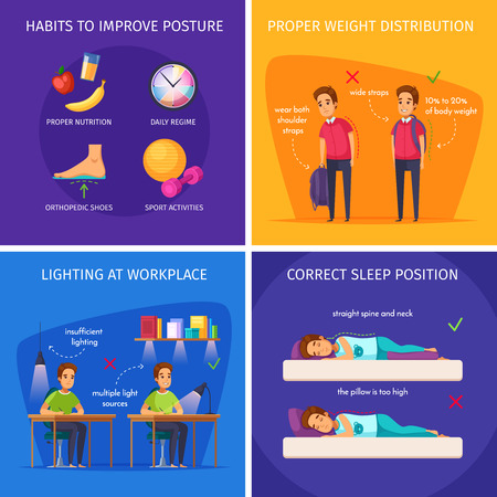 Children posture cartoon 2x2 design concept with correct sleep positions, sufficient lighting and weight distribution images illustration Illustration