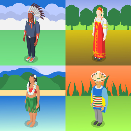 Multinational world culture design concept of four square compositions with people in national costumes on native nature background isometric vector illustration Illustration
