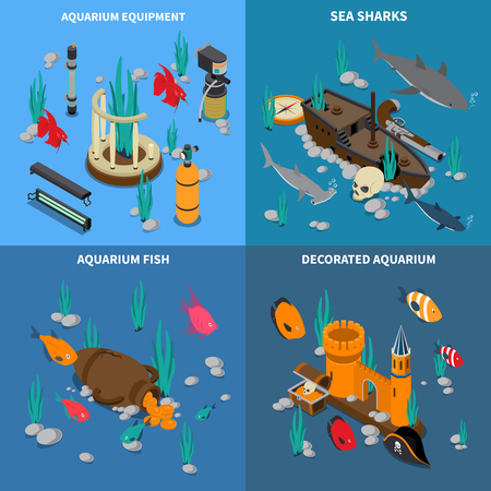 Aquarium concept icons set with fish symbols isometric isolated vector illustration Çizim
