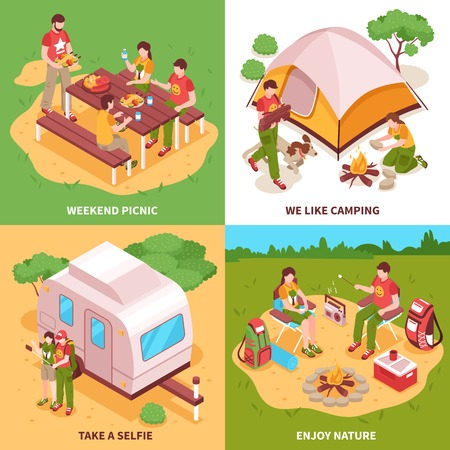 Expedition isometric icons square concept with camping tent caravan picnic in meadow selfie isolated vector illustration