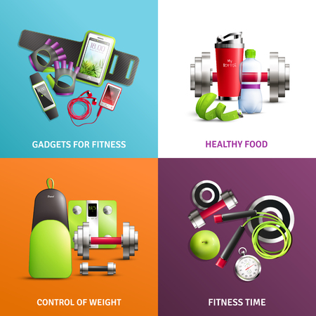 Fitness gym concept icons set with control of weight symbols realistic isolated vector illustration