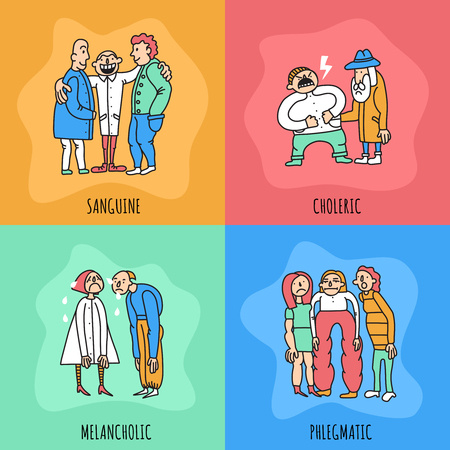 Temperament types design concept including persons with different behavior during communication isolated on color background vector illustration Stock Vector - 97500872
