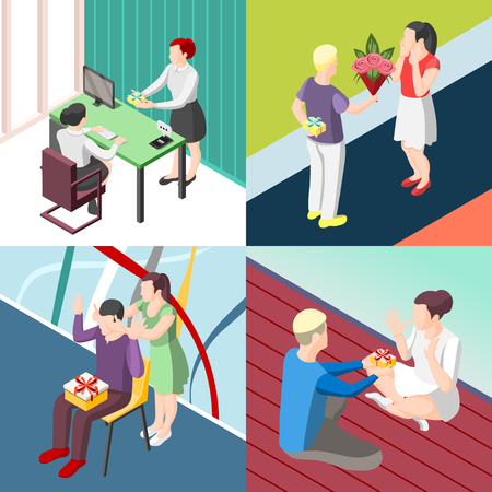 Set of illustrations of people giving gifts to other people Ilustração