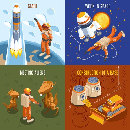 Space exploration isometric design concept with work of astronauts, construction of base, meeting aliens, isolated vector illustration Illustration