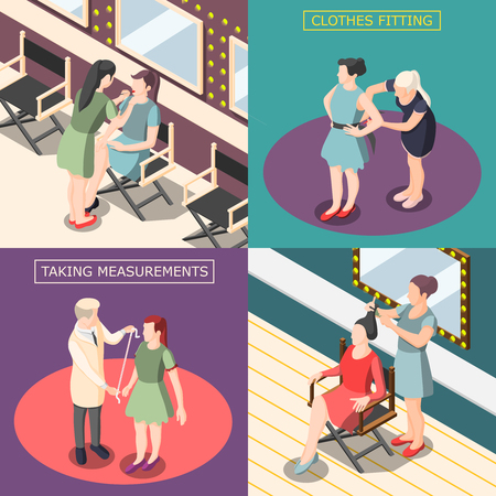 Fashion industry isometric design concept with taking measurements, fitting of clothing, hairdresser and visagiste isolated vector illustration