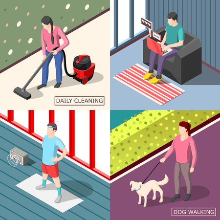 Isometric design concept of a set of people walking with dog, cleaning, doing exercises and with a laptop