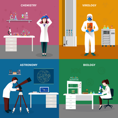 Four scientists people concept set with chemistry virology astronomy and biology descriptions vector illustration