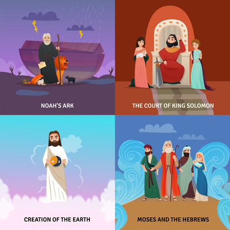 Bible story concept icons set with creation of the Earth symbols flat isolated vector illustration